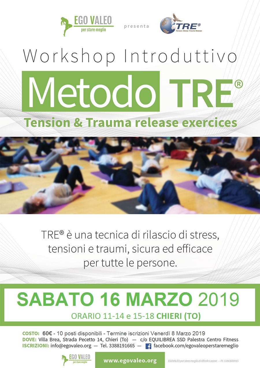 Sabato 16 Marzo 2019 Seminario Introduttivo Metodo TRE – Tension & Trauma release exercices