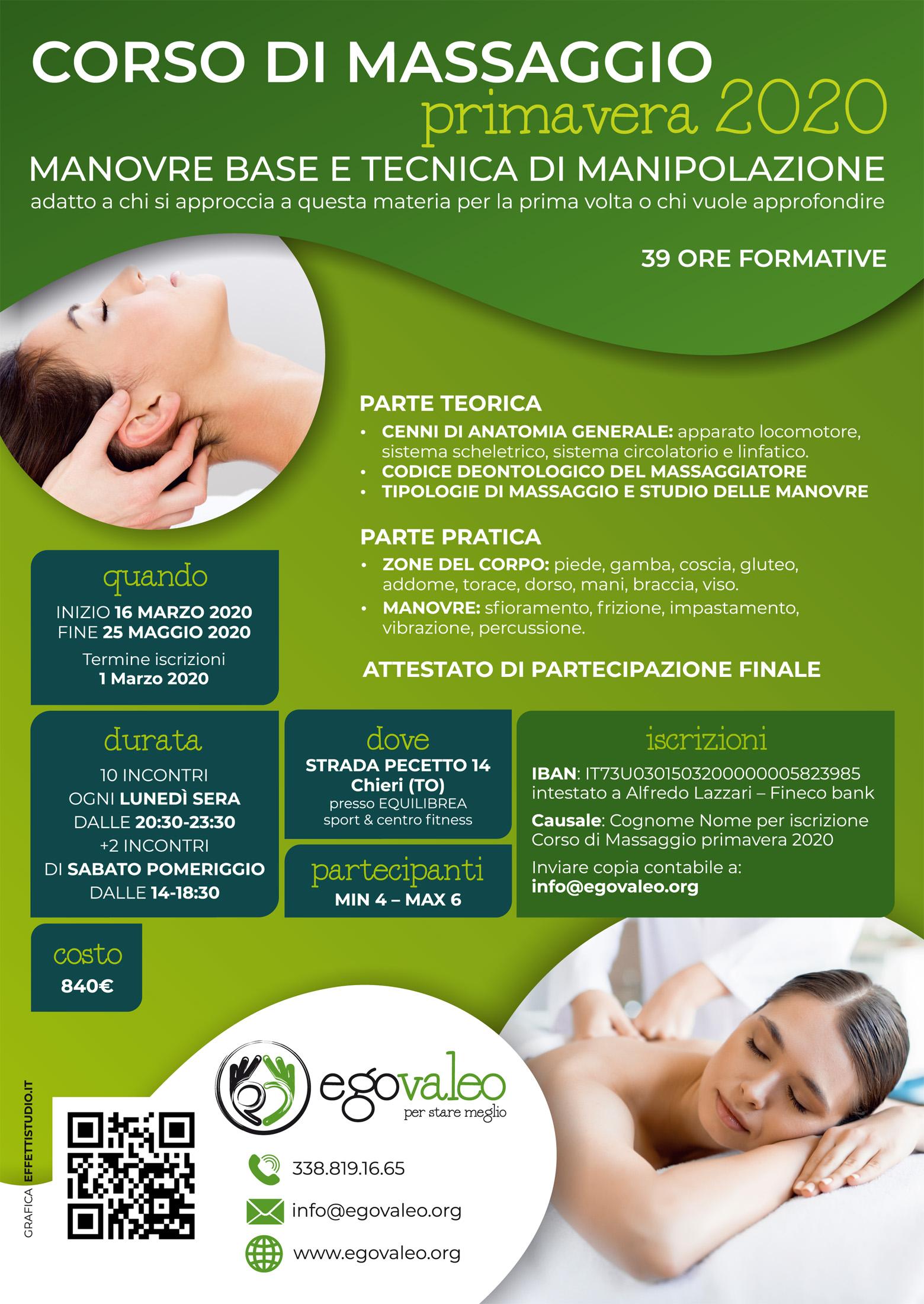 Corso di massaggio Primavera 2020 – Manovre base e tecniche di manipolazione
